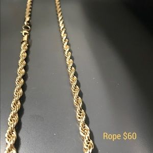 Other - 5mm Mens rope Steel 14k gold over stainless